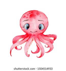 Red cute cartoon octopus with blue big eyes; watercolor hand draw illustration; with white isolated background