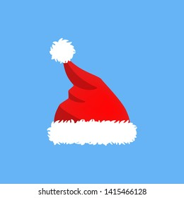 Red cute funny Santa Claus hat with fluffy white fur for christmas party. Winter holiday and christmas celebration. Flat  illustration