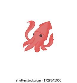 red cute squid