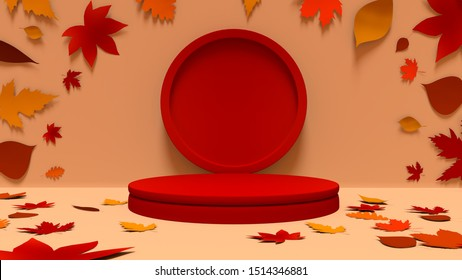 red cylinder podium background in autumn leaves theme concept scene stage showcase for new product, promotion sale, banner, discount, presentation, cosmetic, diamond, offer. copy space. 3D rendering