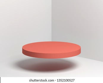 Red cylindrical podium object flying in empty white corner, 3d render illustration