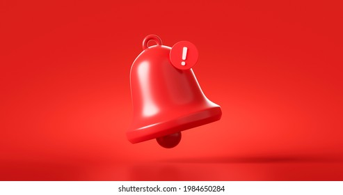 Red danger alarm bell or emergency notifications alert on rescue warning background with security urgency concept. 3D rendering.