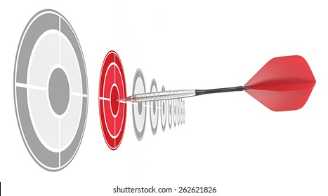 Red Dart. Horizontal row of targets. Red dart hitting target.