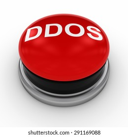 Red DDOS Button on White Background