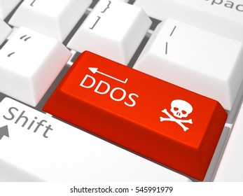 Red DDOS button on a white keyboard, 3D Render