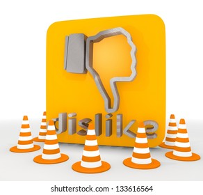 Red  decorative no 3d graphic with isolated dislike icon