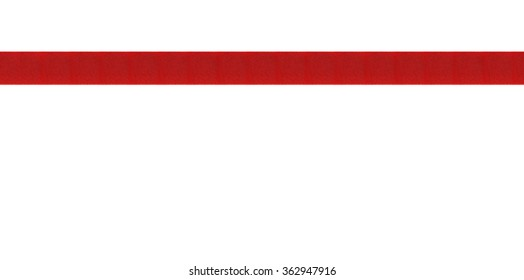 Red, decorative ribbon banner with a classic style. Photographed in a horizontal line on a white background. An attractive design element for web pages and brochures.