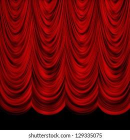 Red decorative vintage curtains over black background.