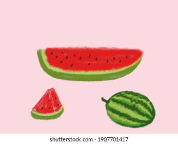 Red delicious watermelon cartoon on pink background