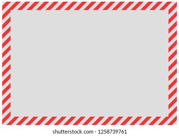 Red diagonal bands along the perimeter of the sheet with gray background . Empty form for message, envelope or banner.