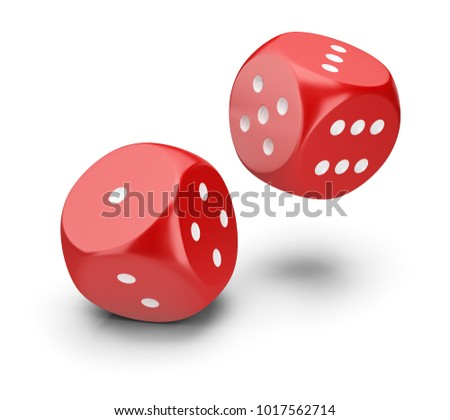 Red dice. 3d image. White background.