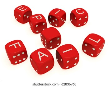 "Red dice with labeled ""Epic Fail"" on the upper plane"