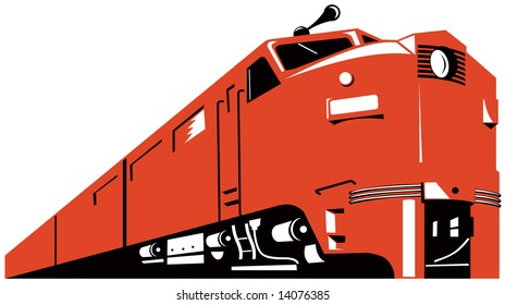 Red Diesel train coming up front
