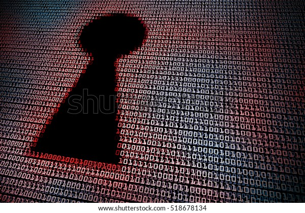 Red digital keyhole. Concept of cyber security, hacking, or information security