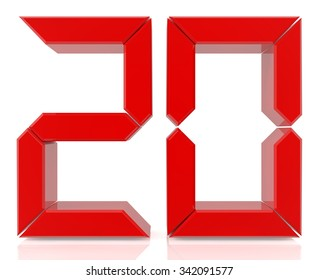 Red digital numbers 20 on white background 3d rendering