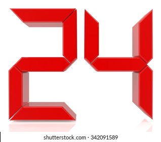 Red digital numbers 24 on white background 3d rendering