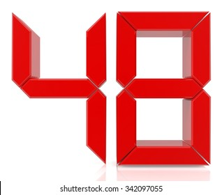 Red digital numbers 48 on white background 3d rendering