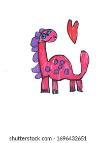 Red dinosaur with violet spots, children's drawing with felt-tip pen on a white background.