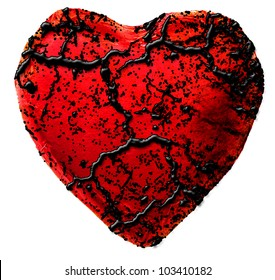 red diseased heart isolated on white
