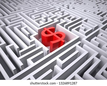 red dollar symbol in the centre of labyrinth, 3d illustration