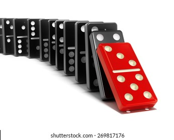Red domino tile falling towards the black tiles isolated on white background