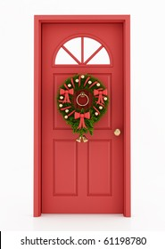 red door with christmas wreath isolated on white - rendering
