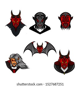 The red dracula vampire and at vampire face logo mascot icon set on Halloween festival with white background