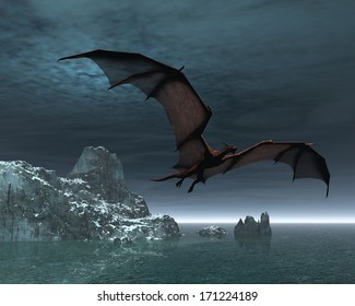 Red dragon flying over the sea and snow covered islands at night, 3d digitally rendered illustration