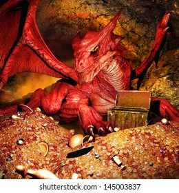 Red dragon guarding the treasure
