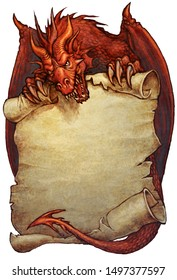 Red dragon holding an old paper scroll - digital illustration