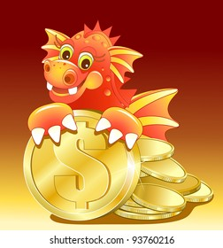 Red dragon illustration of Cute Cartoon with golden coin