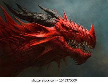 Red dragon portrait. Digital painting.