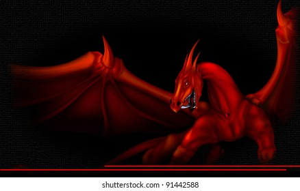 red dragon with raised wings on a black background
