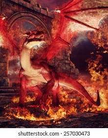 Red dragon in a ring of fire in front of castle ruins