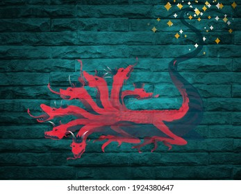 Red dragon with seven heads and ten horns, a depiction from Revelation 12 of the Bible, biblical illustration brick background