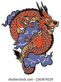 Red dragon tatto art