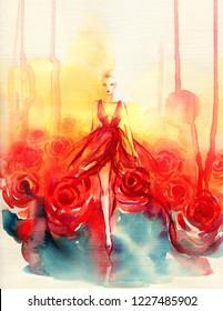 red dress. beautiful woman. fashion illustration. watercolor painting