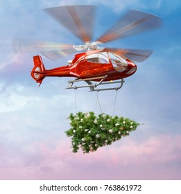 Red drone helicopter carrying christmas tree on sky background. 3D illustration
