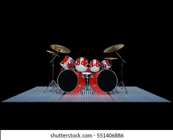Red drum kit is on the floor of a metal lattice. 3D Render