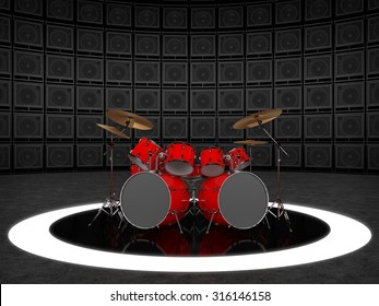 Red drum set against the backdrop of a wall of guitar amps