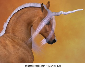 Red Dun Unicorn - A Unicorn is a creature of fantasy and mythology which has a horn on its head, a lion's tail and cloven hooves.
