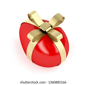 Red Easter egg with golden ribbon on white background. 3D illustration