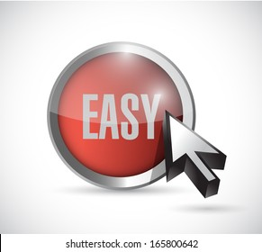 red easy button concept illustration design over a white background