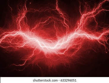 Red electric lightning - abstract electrical background