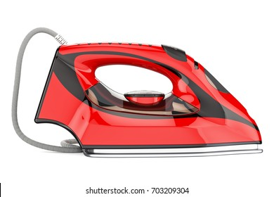 Red electric steam iron, 3D rendering isolated on white background