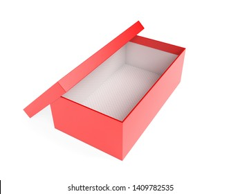 Red empty shoe box. 3d rendering illustration isolated on white background