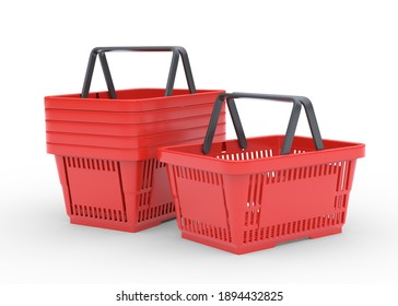 Red empty shopping baskets isolated on white background. 3d rendering illustration