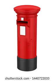 Red England Post Box Isolated. 3D rendering