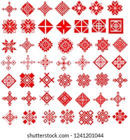 Red ethnic Slavic pattern on white background
