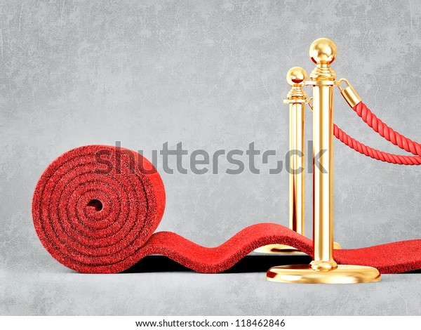 red event carpet isolated on a grey background